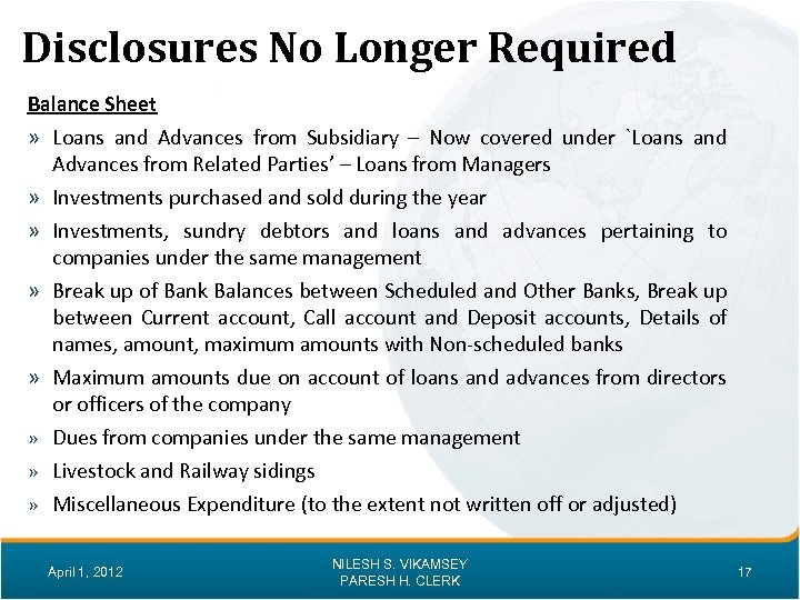 Disclosures No Longer Required Balance Sheet » Loans and Advances from Subsidiary – Now