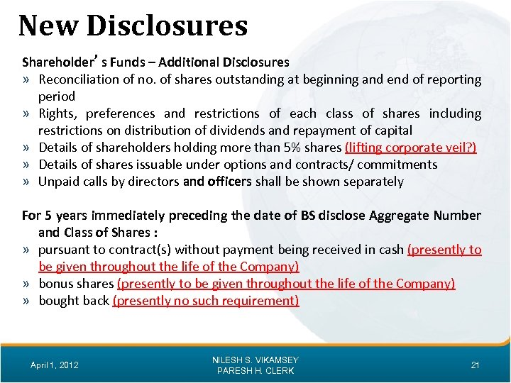 New Disclosures Shareholder's Funds – Additional Disclosures » Reconciliation of no. of shares outstanding