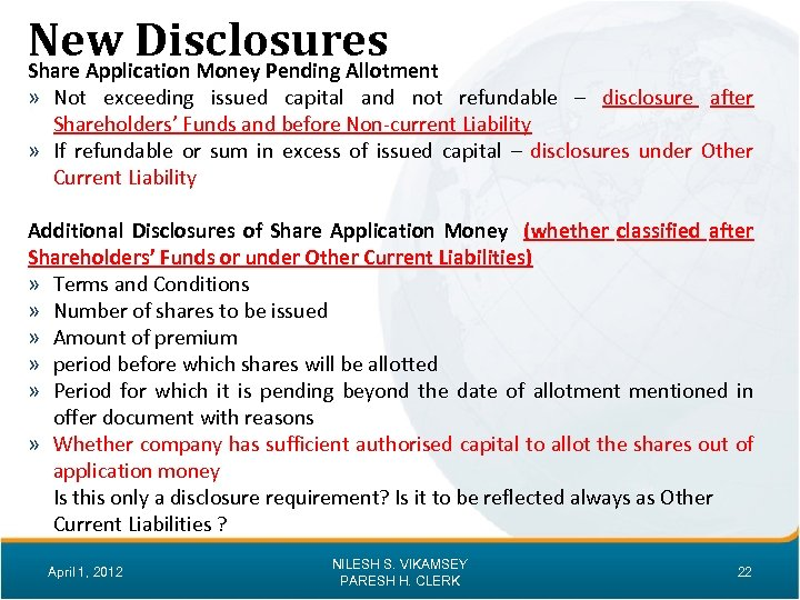 New Disclosures Share Application Money Pending Allotment » Not exceeding issued capital and not
