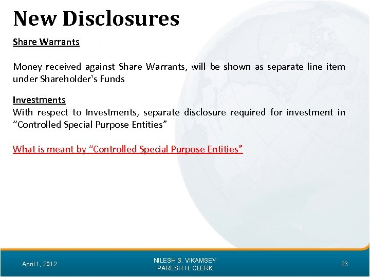 New Disclosures Share Warrants Money received against Share Warrants, will be shown as separate