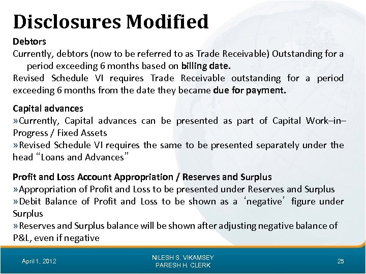 Disclosures Modified Debtors Currently, debtors (now to be referred to as Trade Receivable) Outstanding