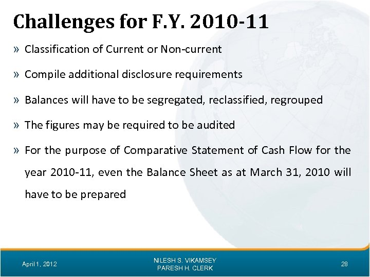 Challenges for F. Y. 2010 -11 » Classification of Current or Non-current » Compile