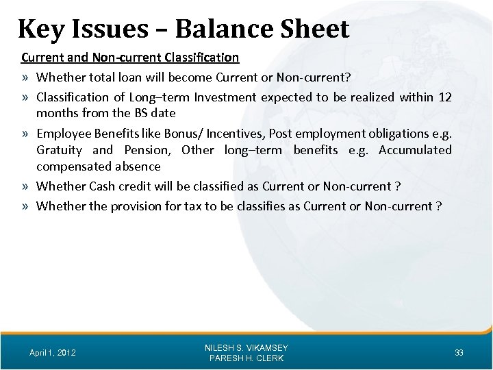 Key Issues – Balance Sheet Current and Non-current Classification » Whether total loan will