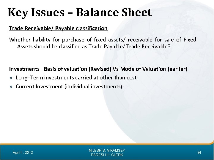 Key Issues – Balance Sheet Trade Receivable/ Payable classification Whether liability for purchase of