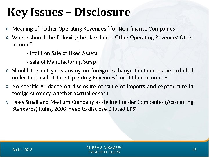 """Key Issues – Disclosure » Meaning of """"Other Operating Revenues"""" for Non-finance Companies »"""