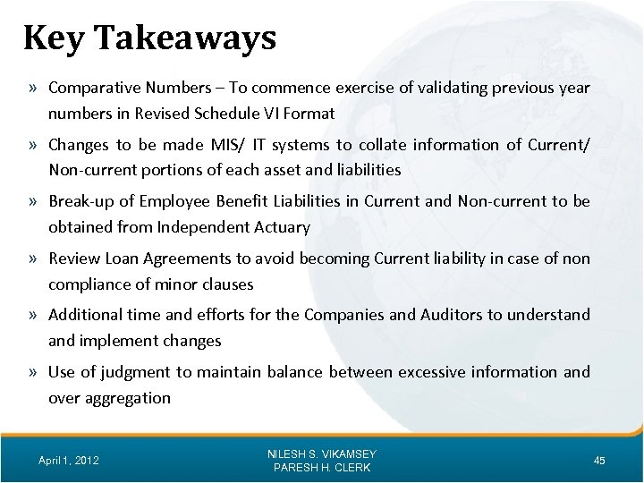 Key Takeaways » Comparative Numbers – To commence exercise of validating previous year numbers