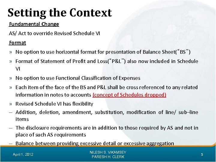 Setting the Context Fundamental Change AS/ Act to override Revised Schedule VI Format »