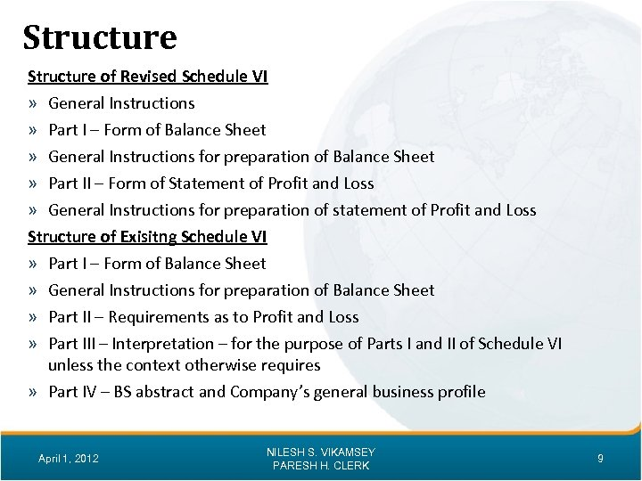 Structure of Revised Schedule VI » General Instructions » Part I – Form of