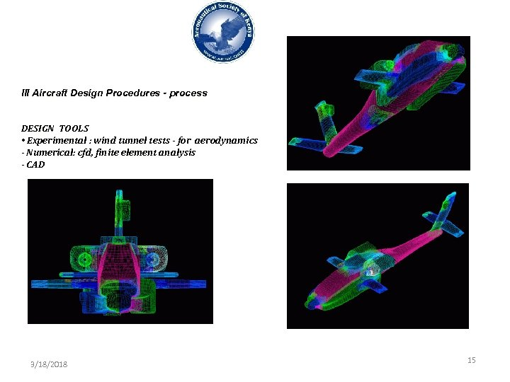 III Aircraft Design Procedures - process DESIGN TOOLS • Experimental : wind tunnel tests