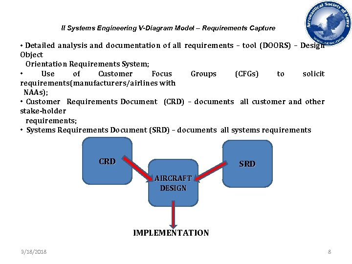 II Systems Engineering V-Diagram Model – Requirements Capture • Detailed analysis and documentation of