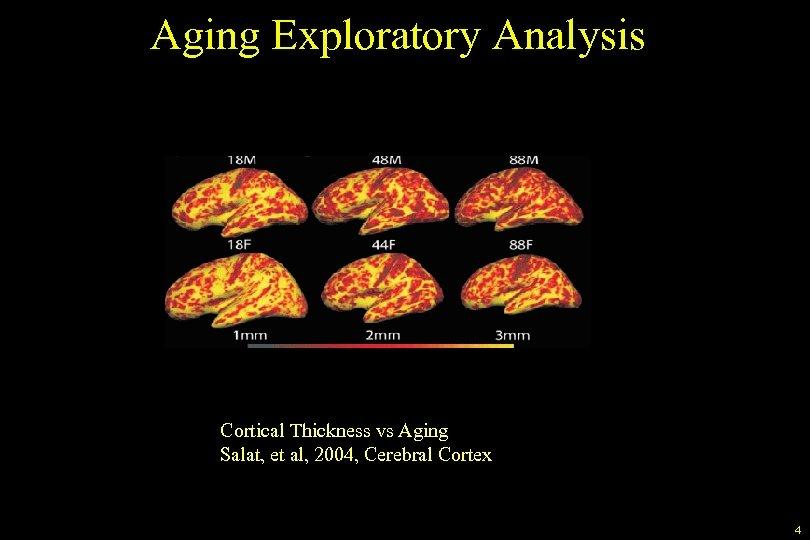 Aging Exploratory Analysis Cortical Thickness vs Aging Salat, et al, 2004, Cerebral Cortex 4