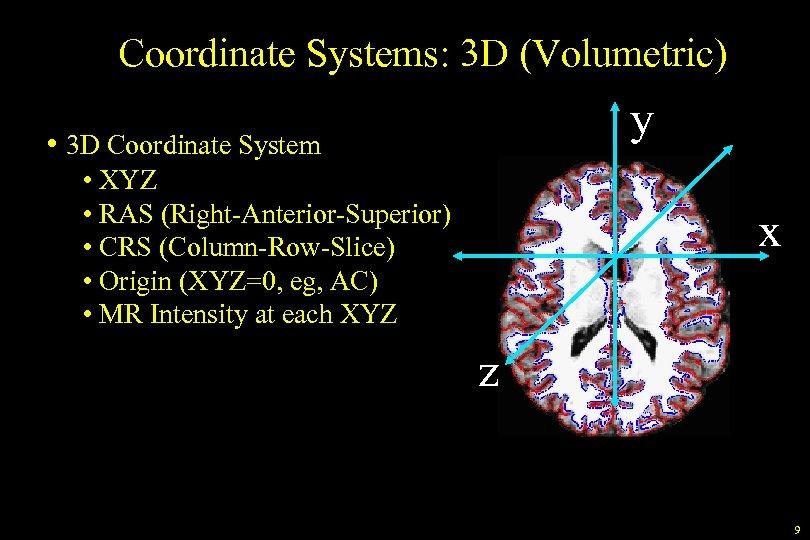 Coordinate Systems: 3 D (Volumetric) y • 3 D Coordinate System • XYZ •