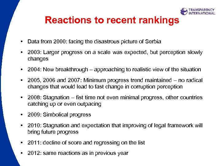 Reactions to recent rankings • Data from 2000: facing the disastrous picture of Serbia