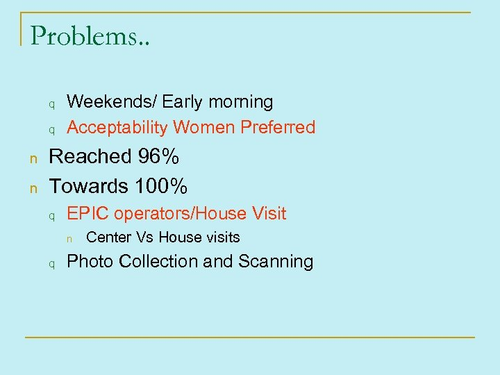 Problems. . q q n n Weekends/ Early morning Acceptability Women Preferred Reached 96%