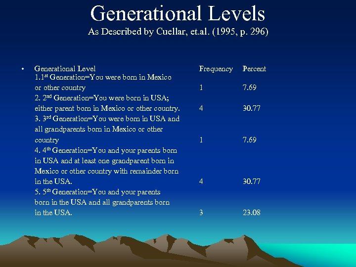Generational Levels As Described by Cuellar, et. al. (1995, p. 296) • Generational Level
