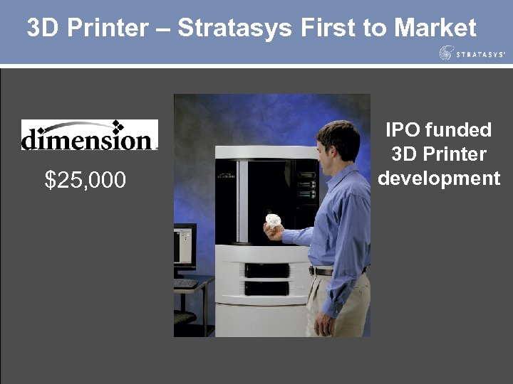 3 D Printer – Stratasys First to Market $25, 000 IPO funded 3 D