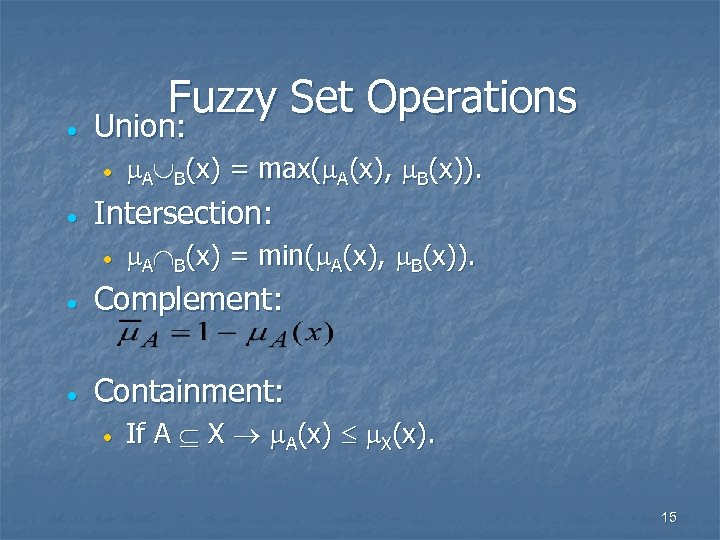 · Fuzzy Set Operations Union: · · A B(x) = max( A(x), B(x)). Intersection: