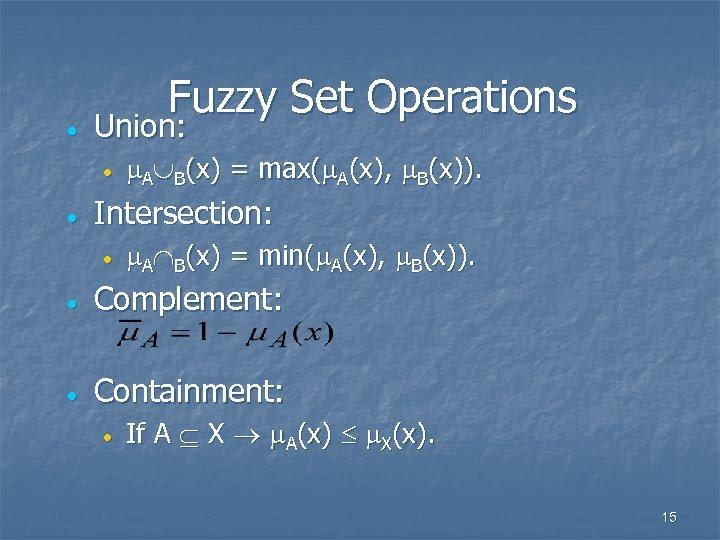 · Fuzzy Set Operations Union: · · A B(x) = max( A(x), B(x)). Intersection: