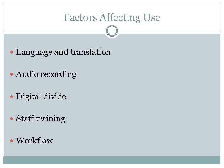 Factors Affecting Use Language and translation Audio recording Digital divide Staff training Workflow
