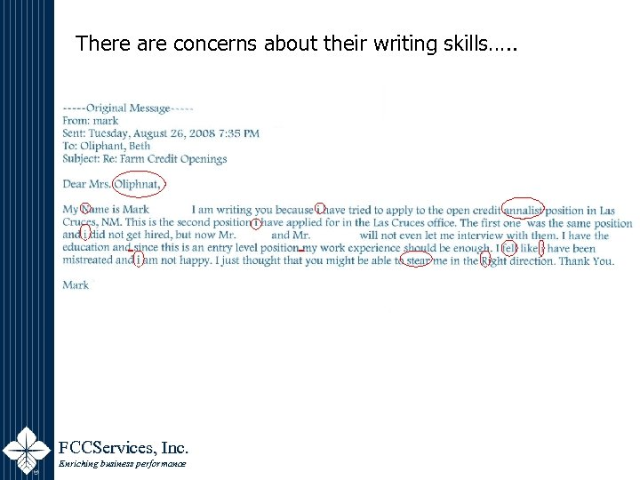 There are concerns about their writing skills…. . FCCServices, Inc. Enriching business performance
