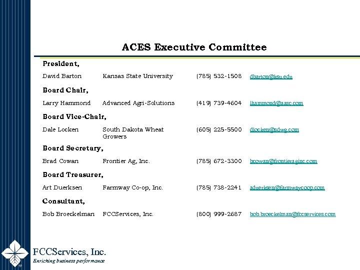 ACES Executive Committee President, David Barton Kansas State University (785) 532 -1508 dbarton@ksu. edu