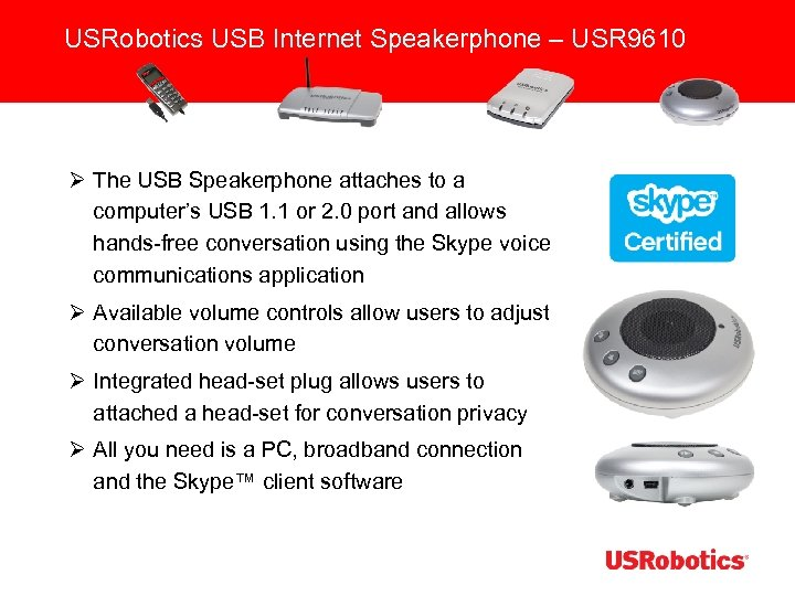 USRobotics USB Internet Speakerphone – USR 9610 Ø The USB Speakerphone attaches to a