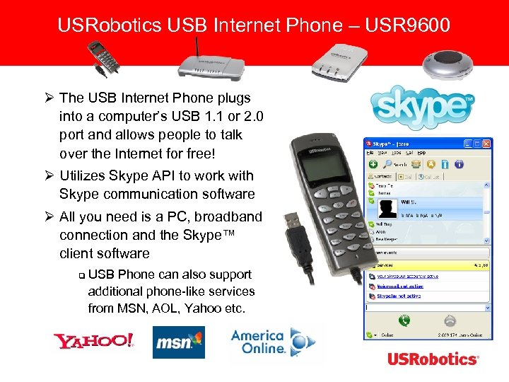 USRobotics USB Internet Phone – USR 9600 Ø The USB Internet Phone plugs into