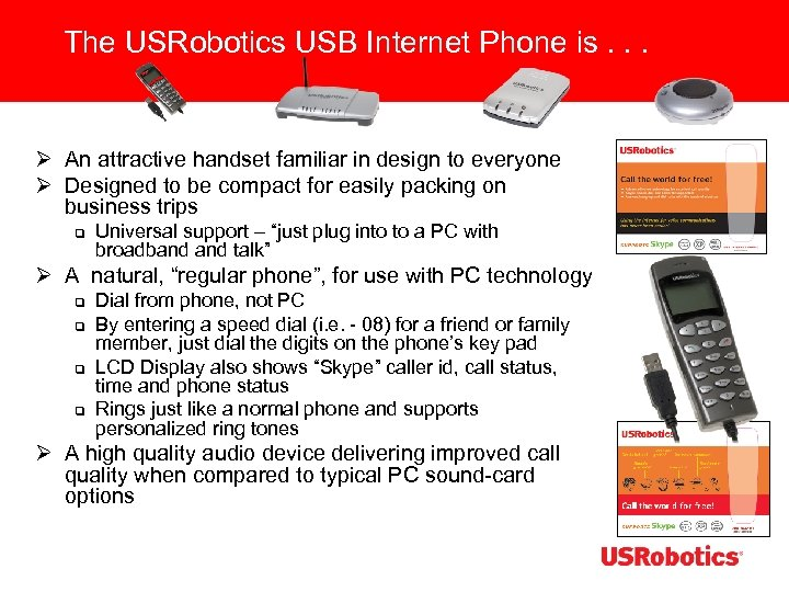 The USRobotics USB Internet Phone is. . . Ø An attractive handset familiar in