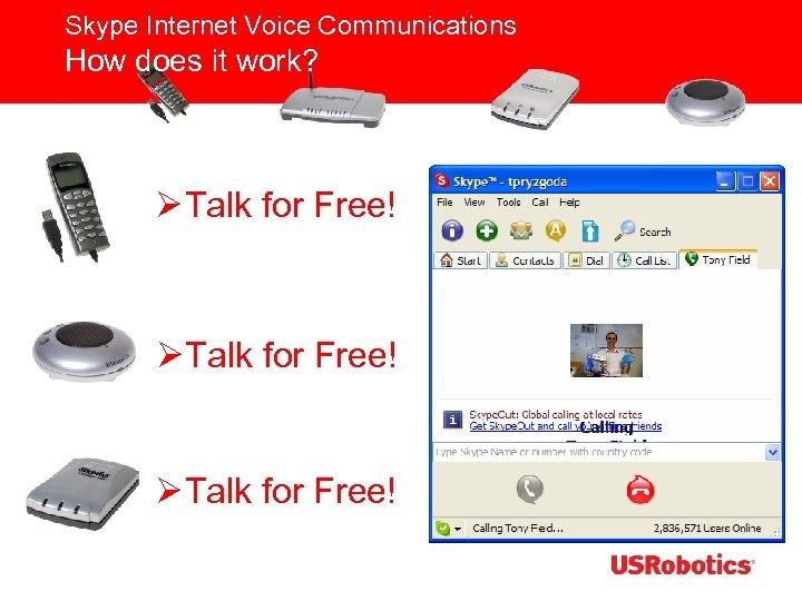 Skype Internet Voice Communications How does it work? ØTalk for Free!