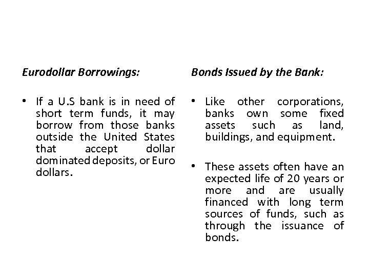 Eurodollar Borrowings: Bonds Issued by the Bank: • If a U. S bank is