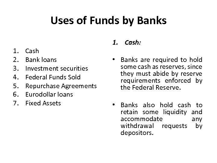 Uses of Funds by Banks 1. 2. 3. 4. 5. 6. 7. Cash Bank