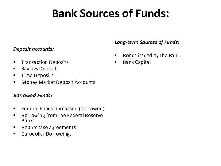 Bank Sources of Funds: Deposit accounts: • Transaction Deposits • Savings Deposits • Time