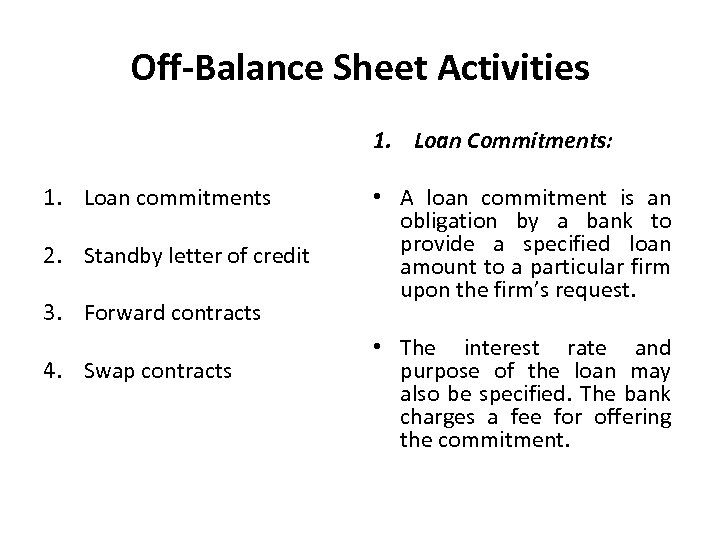 Off-Balance Sheet Activities 1. Loan Commitments: 1. Loan commitments 2. Standby letter of credit