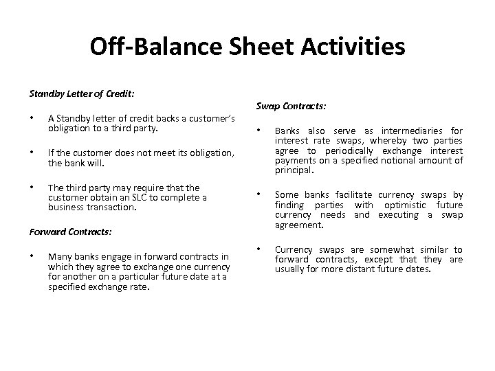 Off-Balance Sheet Activities Standby Letter of Credit: • A Standby letter of credit backs