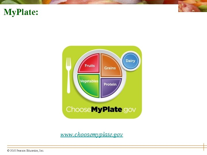 My. Plate: www. choosemyplate. gov © 2010 Pearson Education, Inc.