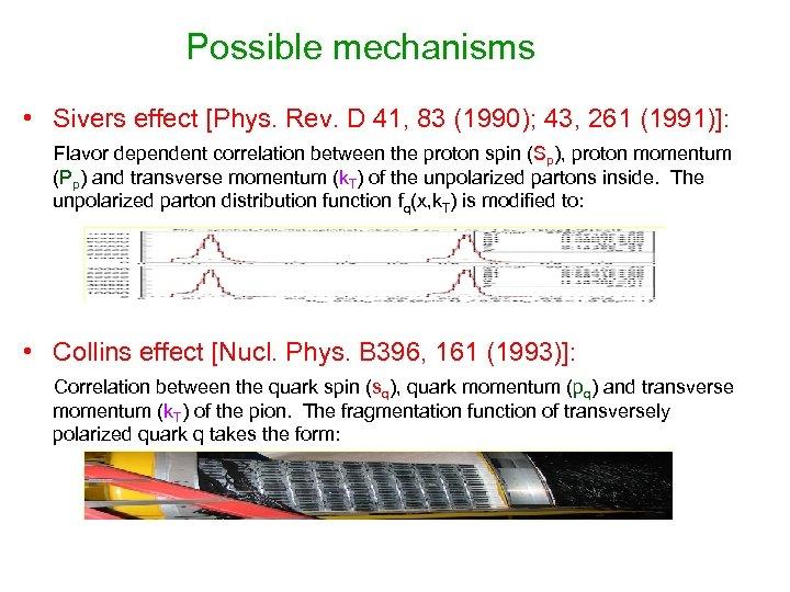 Possible mechanisms • Sivers effect [Phys. Rev. D 41, 83 (1990); 43, 261 (1991)]: