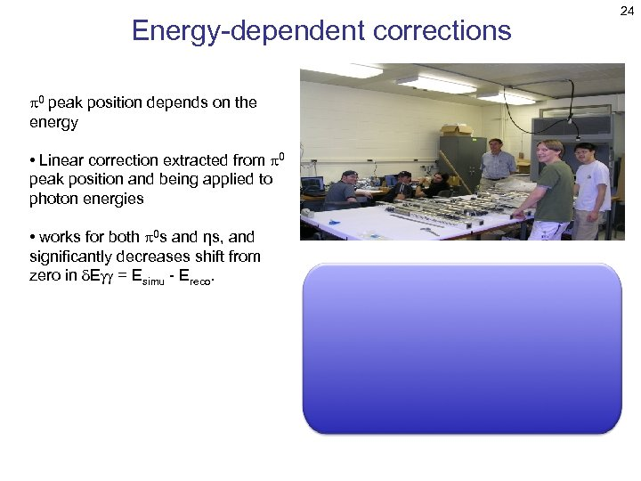Energy-dependent corrections p 0 peak position depends on the energy • Linear correction extracted