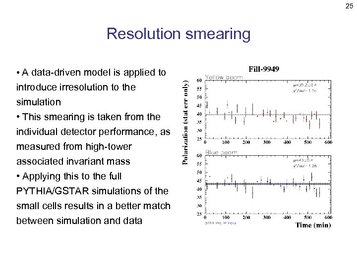 25 Resolution smearing • A data-driven model is applied to introduce irresolution to the