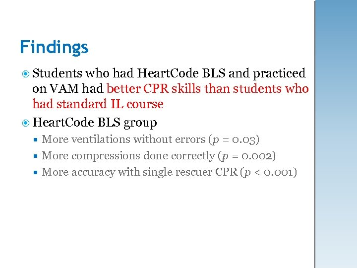 Findings Students who had Heart. Code BLS and practiced on VAM had better CPR