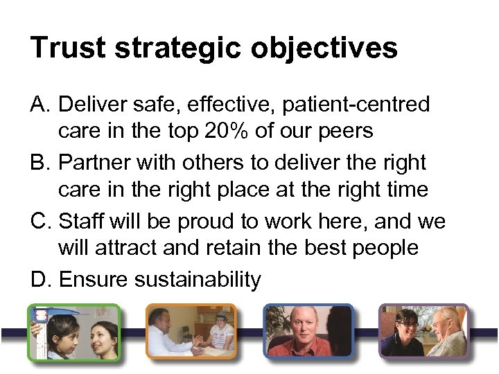Trust strategic objectives A. Deliver safe, effective, patient-centred care in the top 20% of