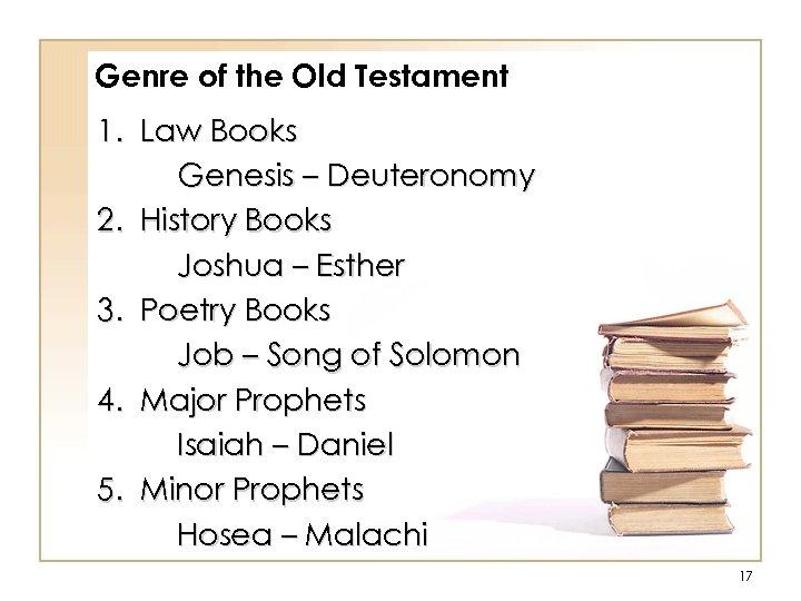 Genre of the Old Testament 1. Law Books Genesis – Deuteronomy 2. History Books
