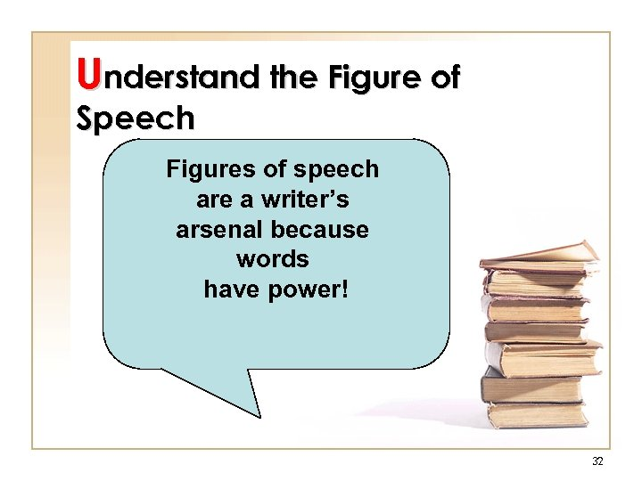 Understand the Figure of Speech Figures of speech are a writer's arsenal because words