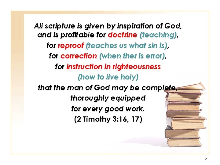 All scripture is given by inspiration of God, and is profitable for doctrine (teaching),