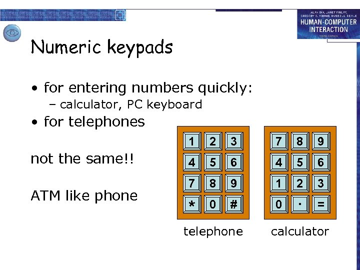 Numeric keypads • for entering numbers quickly: – calculator, PC keyboard • for telephones
