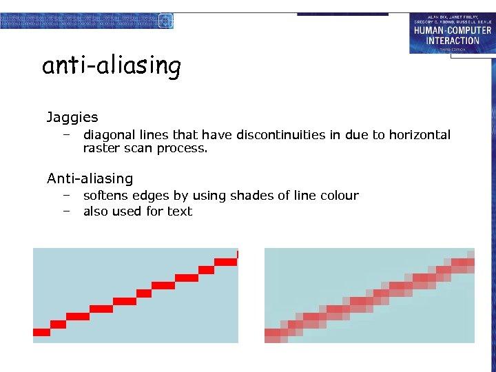 anti-aliasing Jaggies – diagonal lines that have discontinuities in due to horizontal raster scan