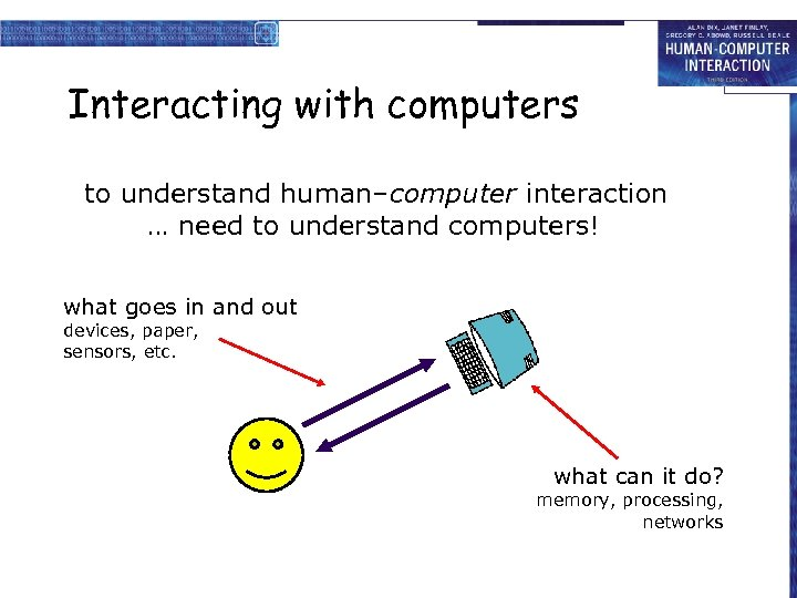 Interacting with computers to understand human–computer interaction … need to understand computers! what goes