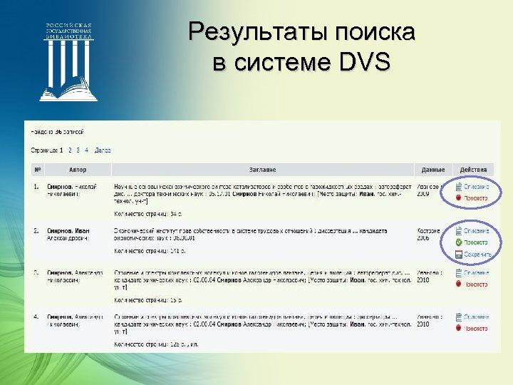 Результаты поиска в системе DVS