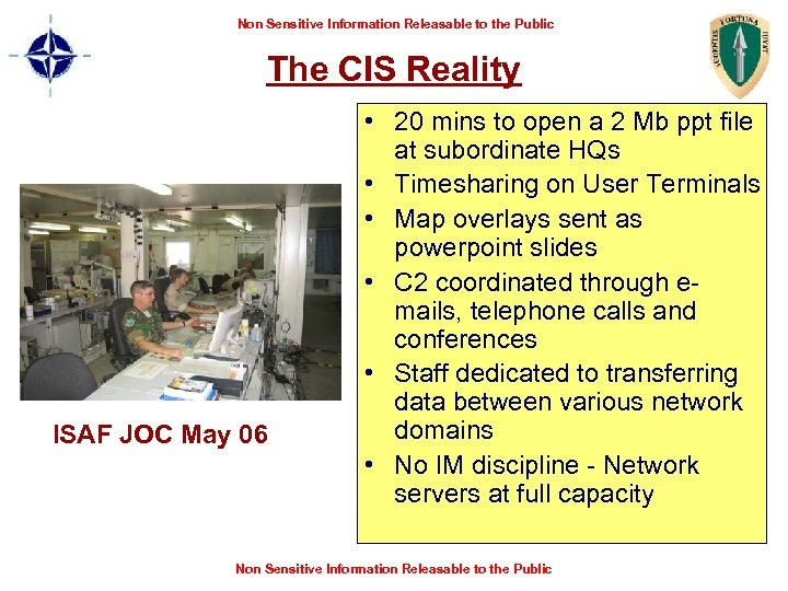 Non Sensitive Information Releasable to the Public The CIS Reality ISAF JOC May 06