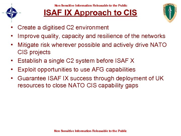 Non Sensitive Information Releasable to the Public ISAF IX Approach to CIS • Create