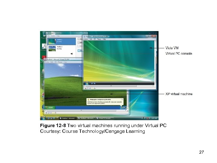 Figure 12 -8 Two virtual machines running under Virtual PC Courtesy: Course Technology/Cengage Learning
